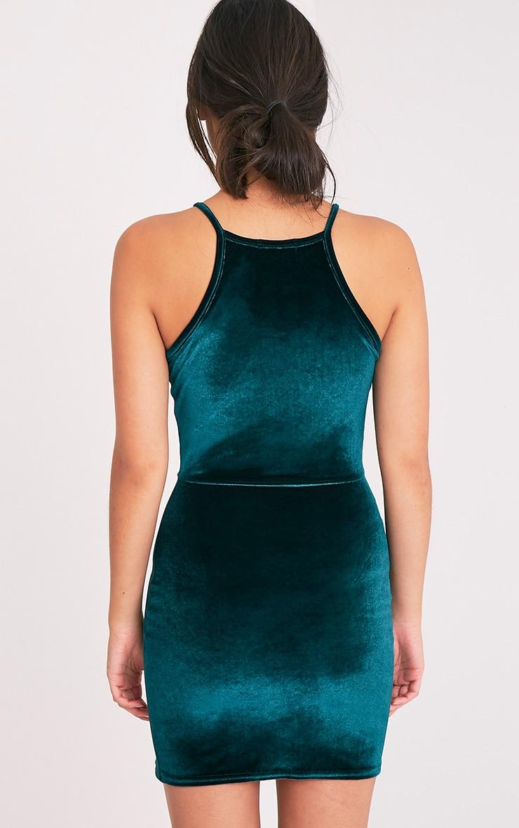 Aniqah robe moulante vert émeraude en velours à détail fendu 2