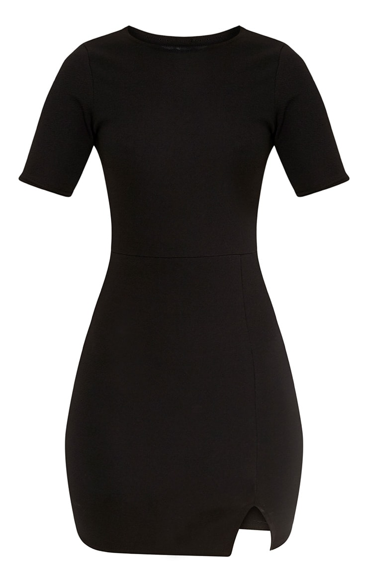 Freya Black Split Detail Capped Sleeve Bodycon Dress 3
