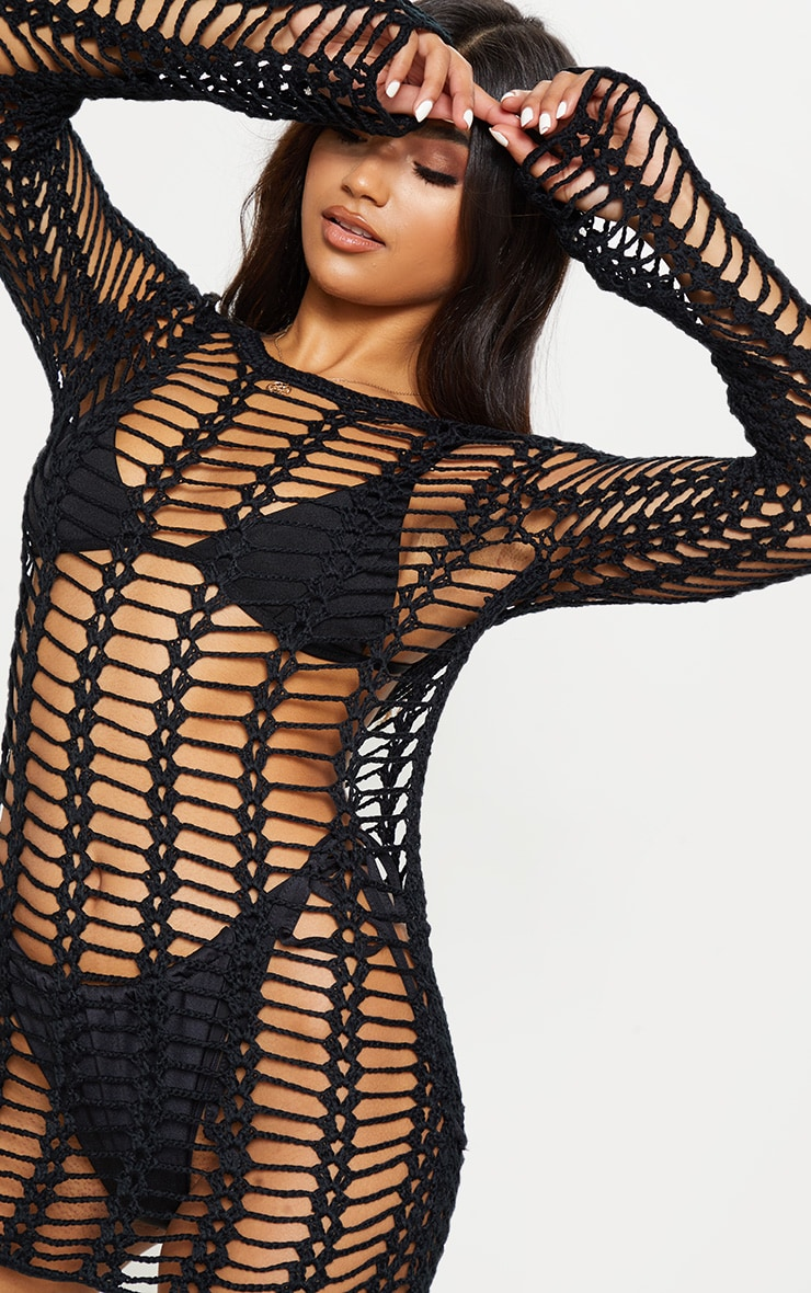 Black Crochet Ladder Detail Long Sleeve Dress 5