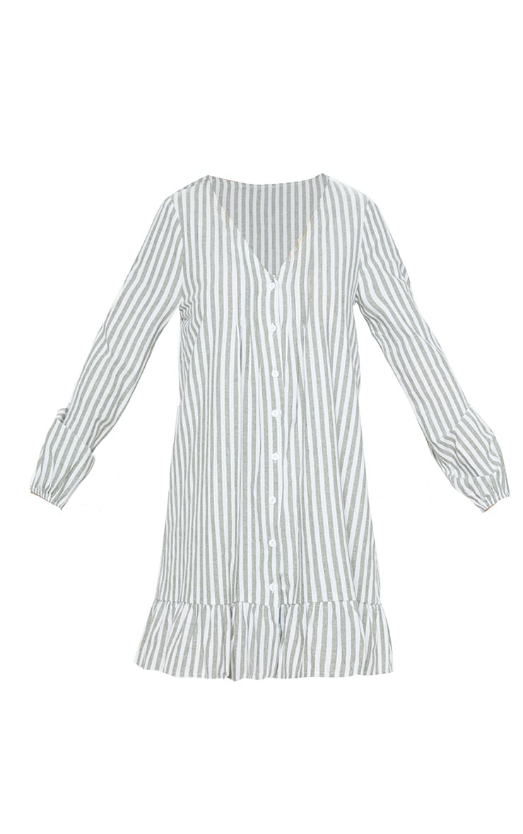 Sage Green  Stripe Pleated Button Through Smock Dress 3