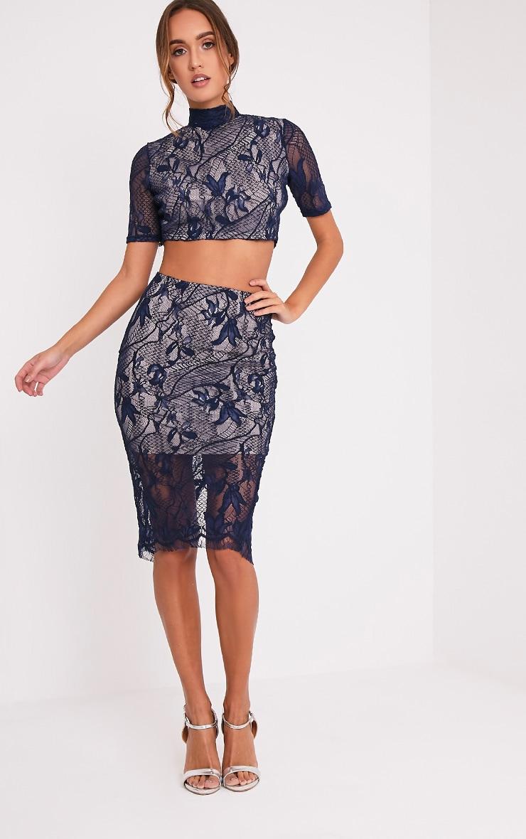 Leela Navy Lace Short Sleeved Crop Top 5