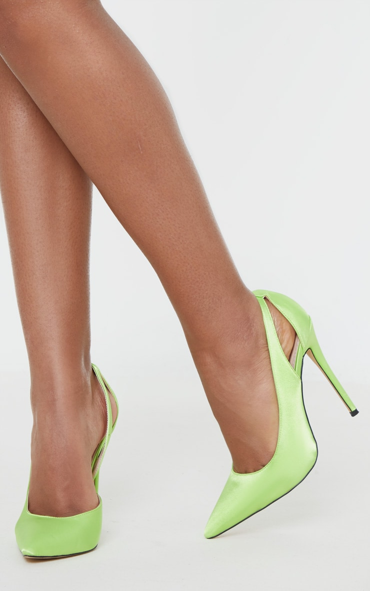 Lime Satin Cut Out Heel Court Shoe 2