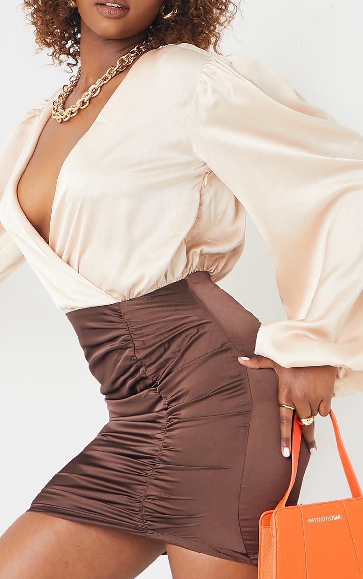 Chocolate Contrast Satin Plunge Gathered Skirt Bodycon Dress 4