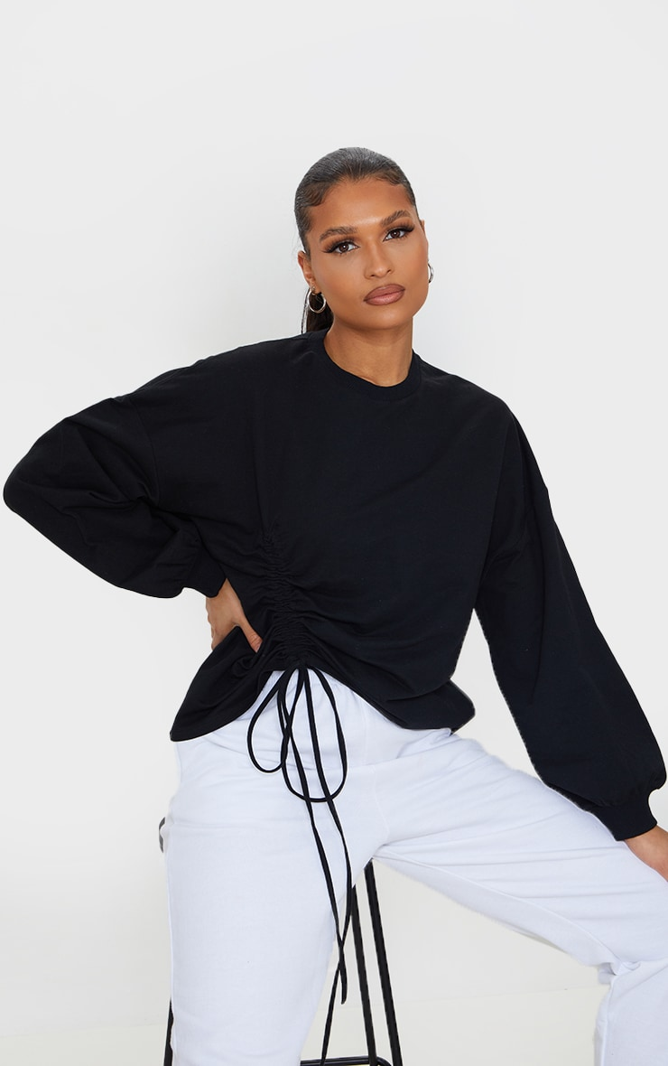 Black Drawstring Ruched Side Sweatshirt 3