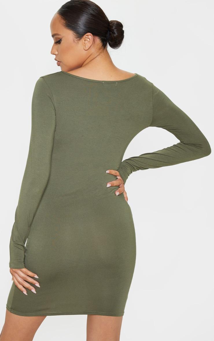 Khaki Jersey Long Sleeve Bodycon Dress 2