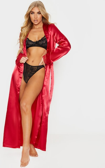 Red Long Lace Trim Satin Robe