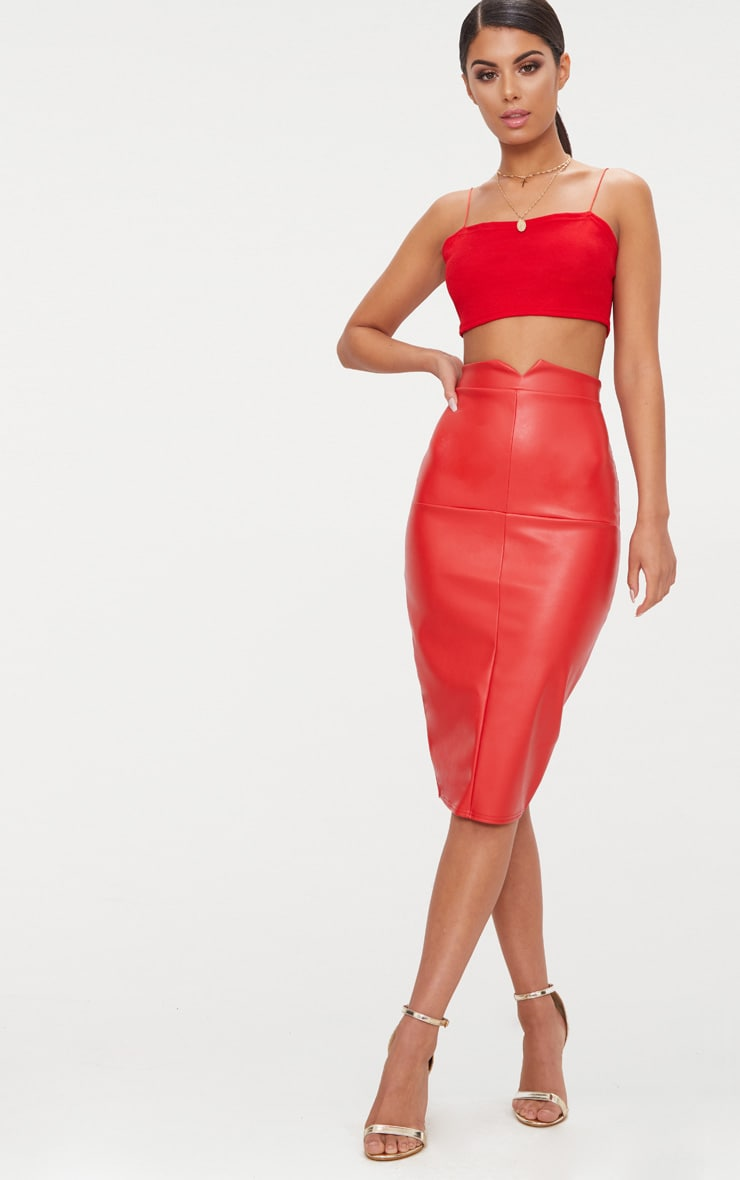 Red Faux Leather Panel Midi Skirt  1