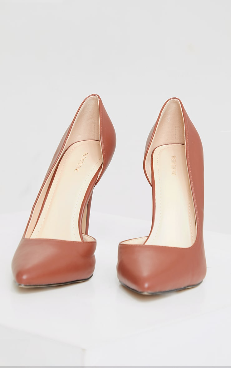 Chocolate Point Toe Cut Out Side Stiletto Court Shoes 3