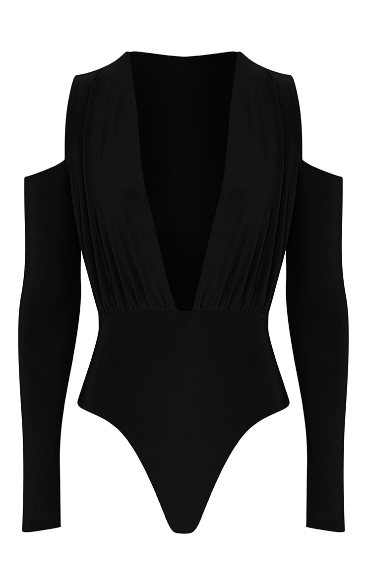 Sali Black Cold Shoulder Bodysuit 3
