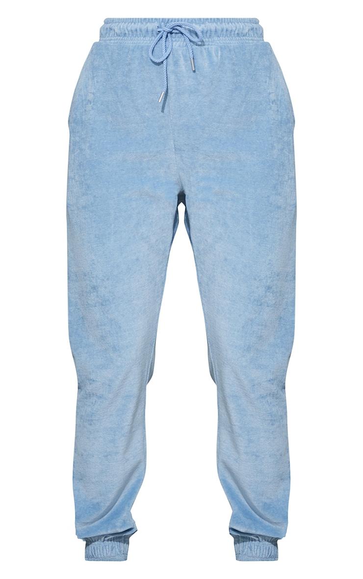 Jogging casual en velours bleu cendré à poches 5