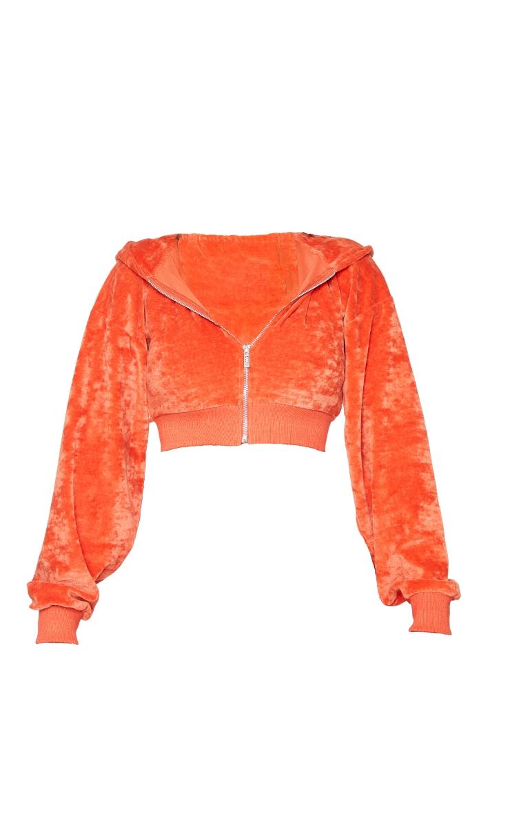 Shape Orange Velour Diamante Graphic Cropped Hooded Zip Sweatshirt 5