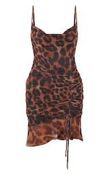 Brown Mesh Leopard Print Ruched Bodycon Dress 3