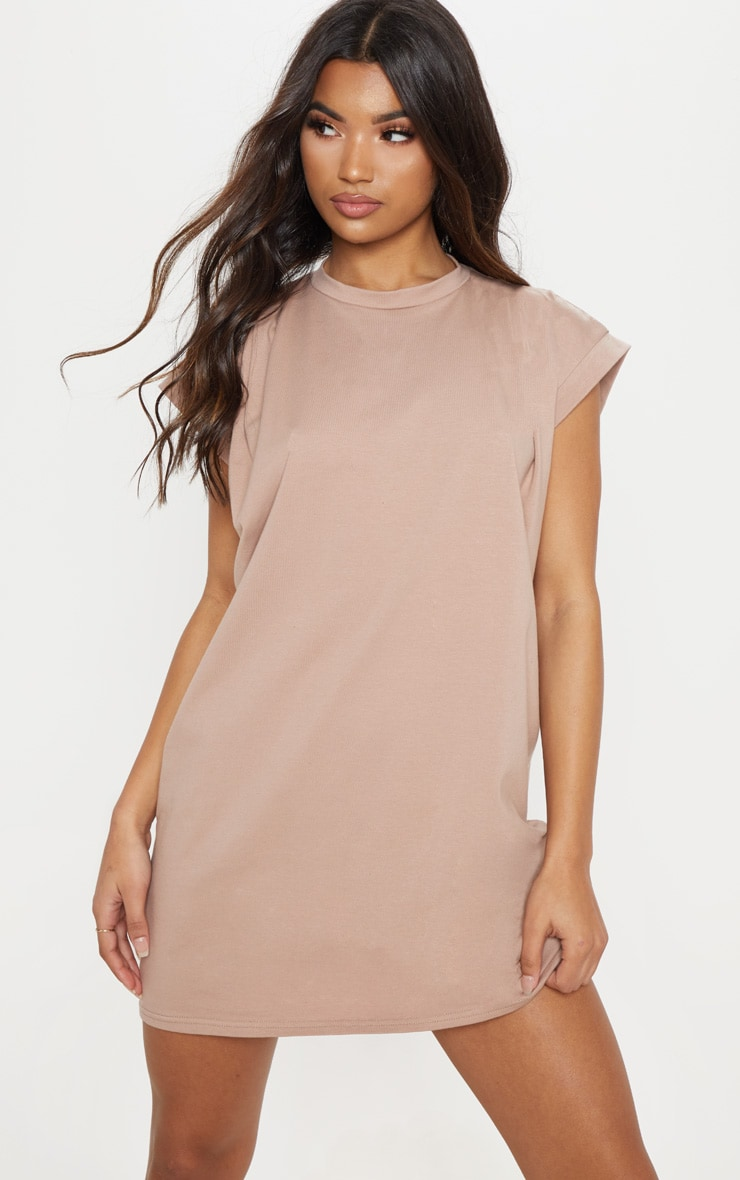 Robe tee-shirt taupe oversize à manches très courtes 4