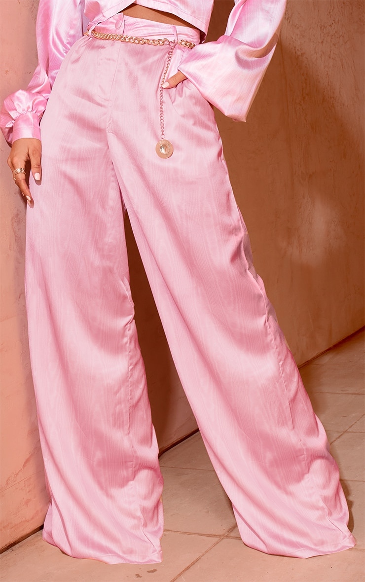 Pink Satin Taffeta Print Wide Leg Trousers 2