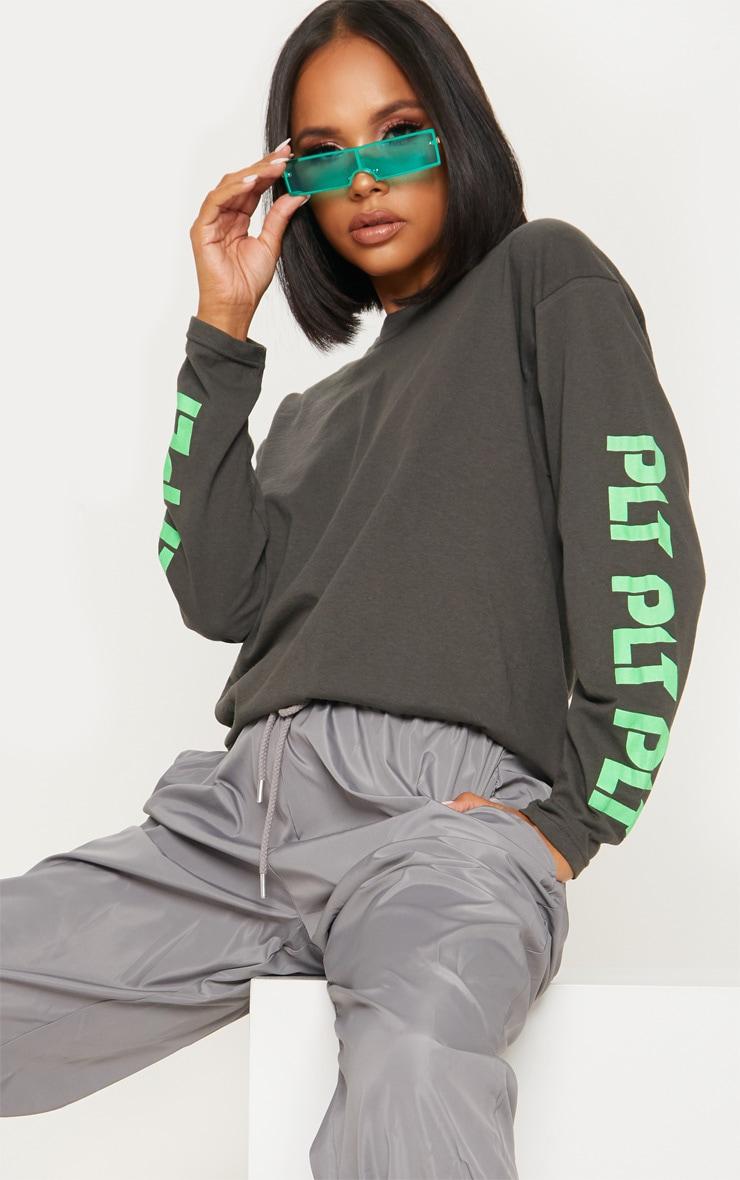 Tee-shirt manches longues gris anthracite avec logos PLT