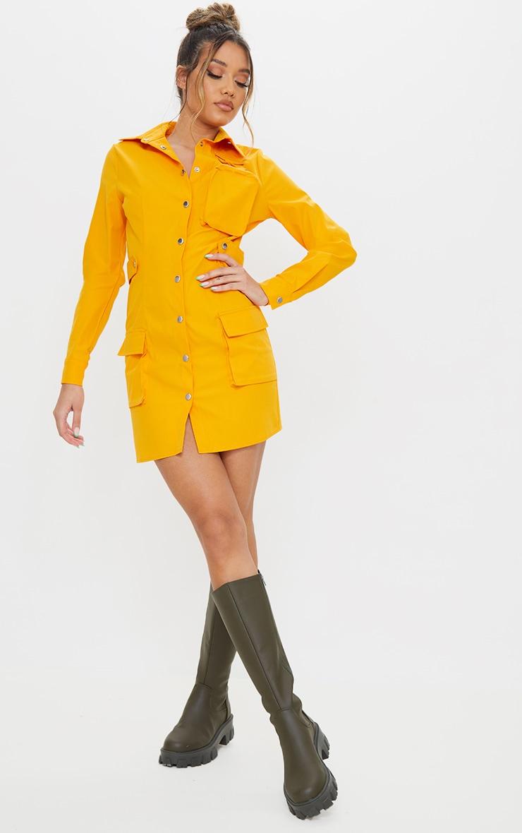 Orange Mutli Pocket Popper Detail Utility Shirt Dress 1