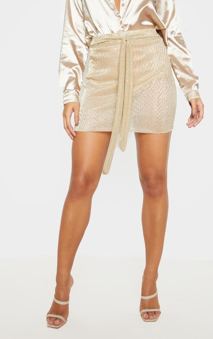 Gold Plisse Tie Waist Mini Skirt  2