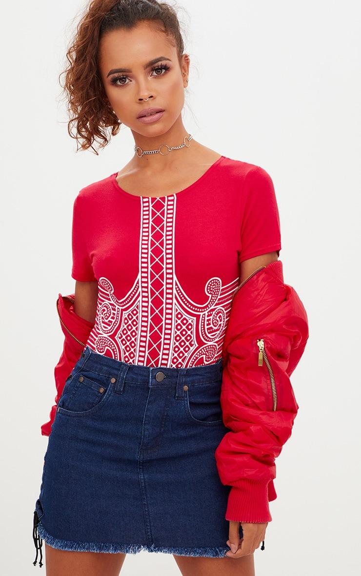 Petite Red Printed Short Sleeve Bodysuit 1