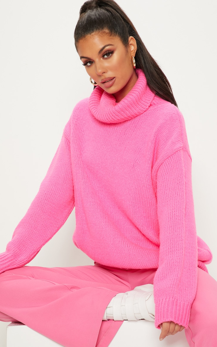 Hot Pink High Neck Fluffy Knit Sweater  1