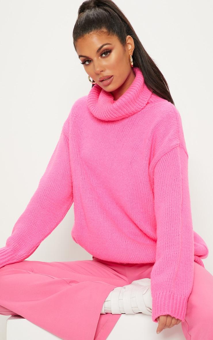 Hot Pink High Neck Fluffy Knit Jumper