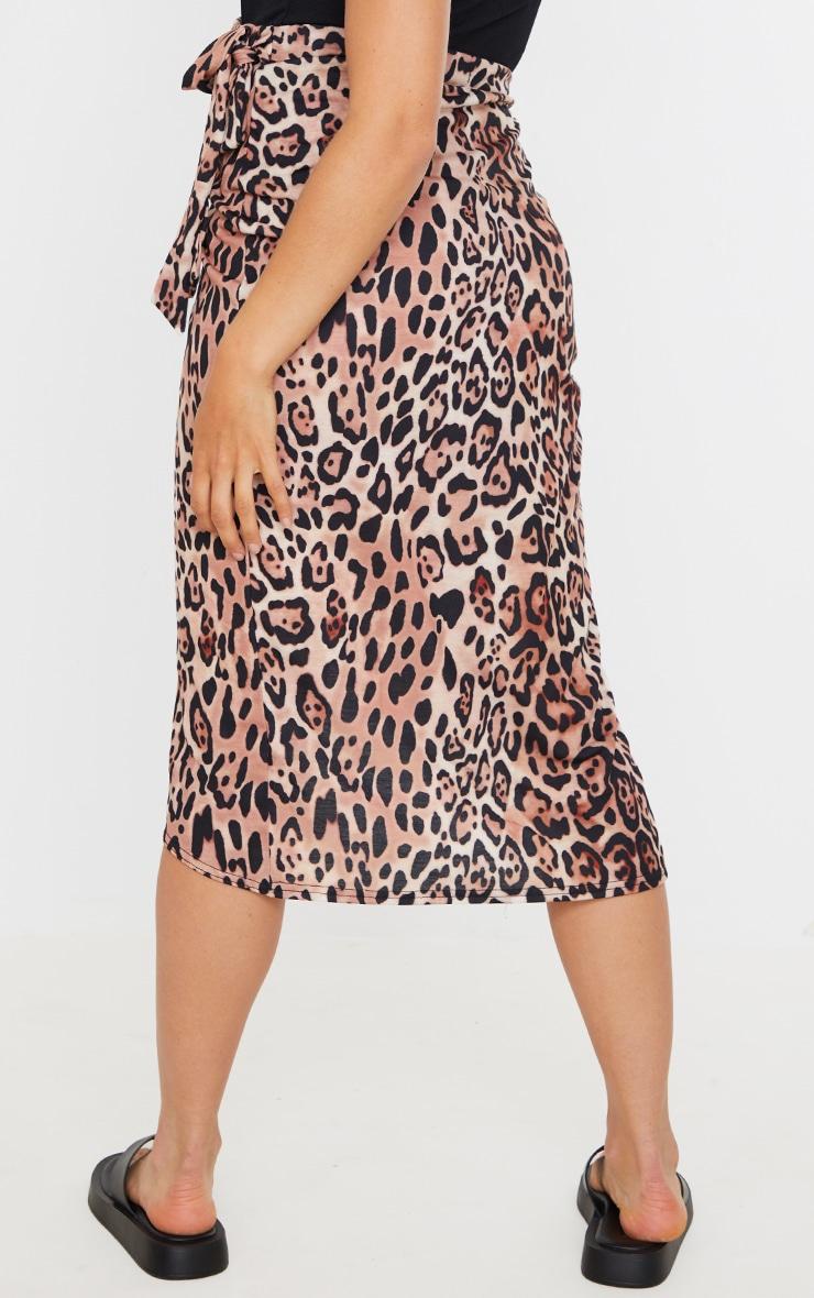 Maternity Brown Leopard Wrap Over Midi Skirt 3