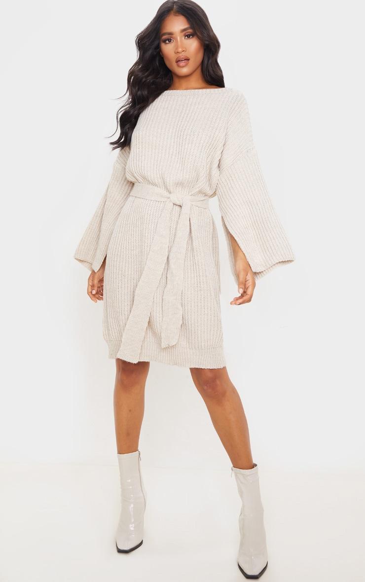 Stone Knitted Tie Waist Split Sleeve Sweater Dress 1