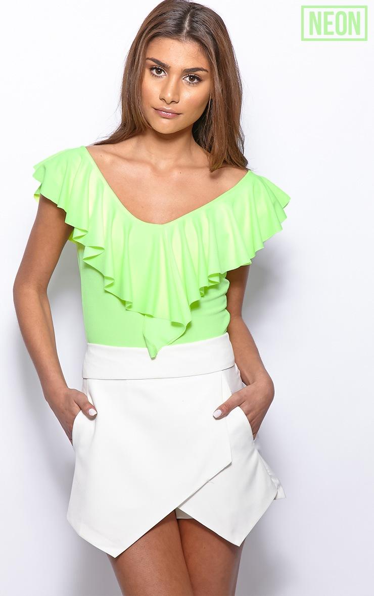 Sylvia Neon Lime Frill Crop Top 1
