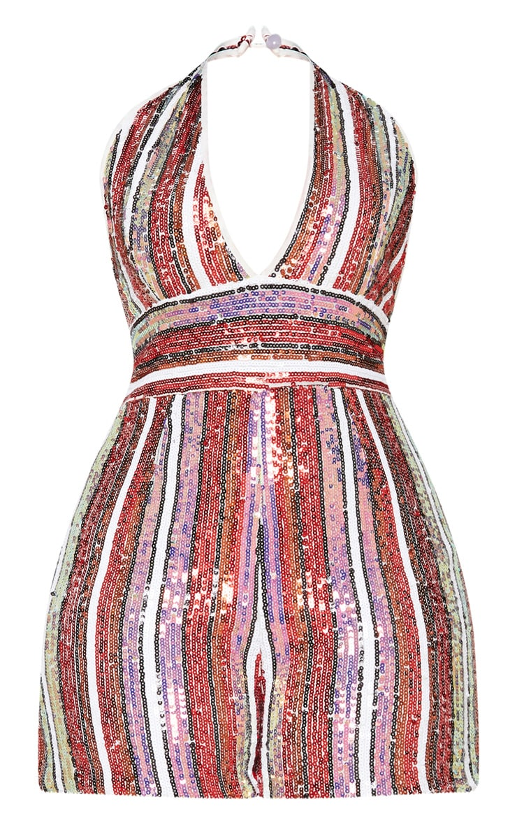 Multi Stripe Sequin Halterneck Playsuit 4