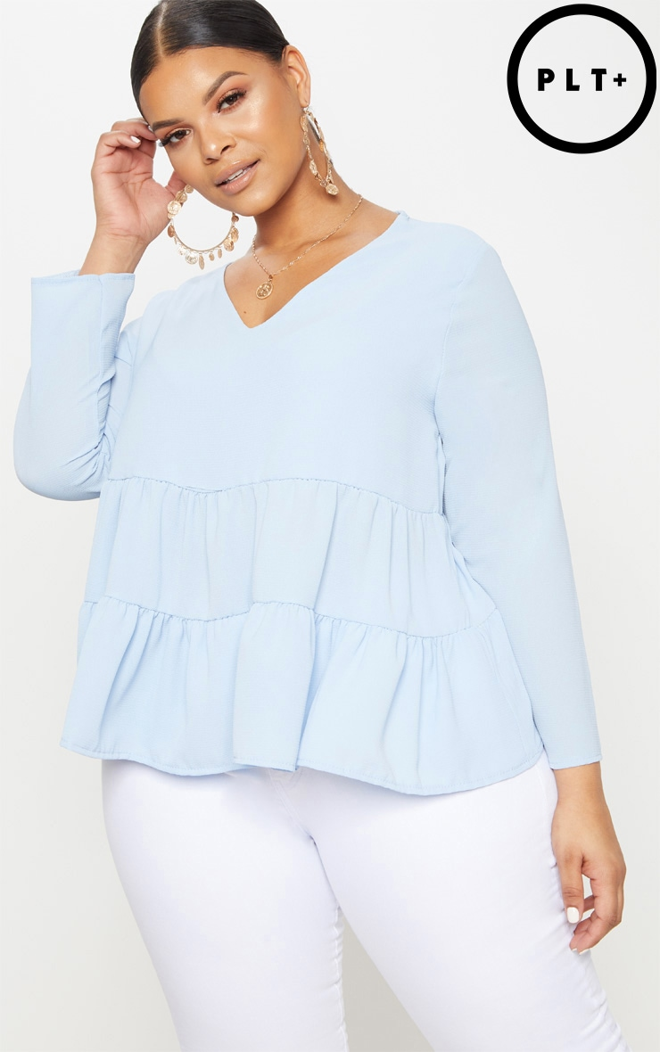 Plus Baby Blue Plunge Tiered Shirt 1