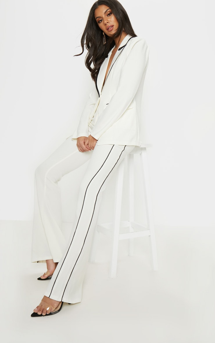 Cream Contrast Trim Flared Trouser 1