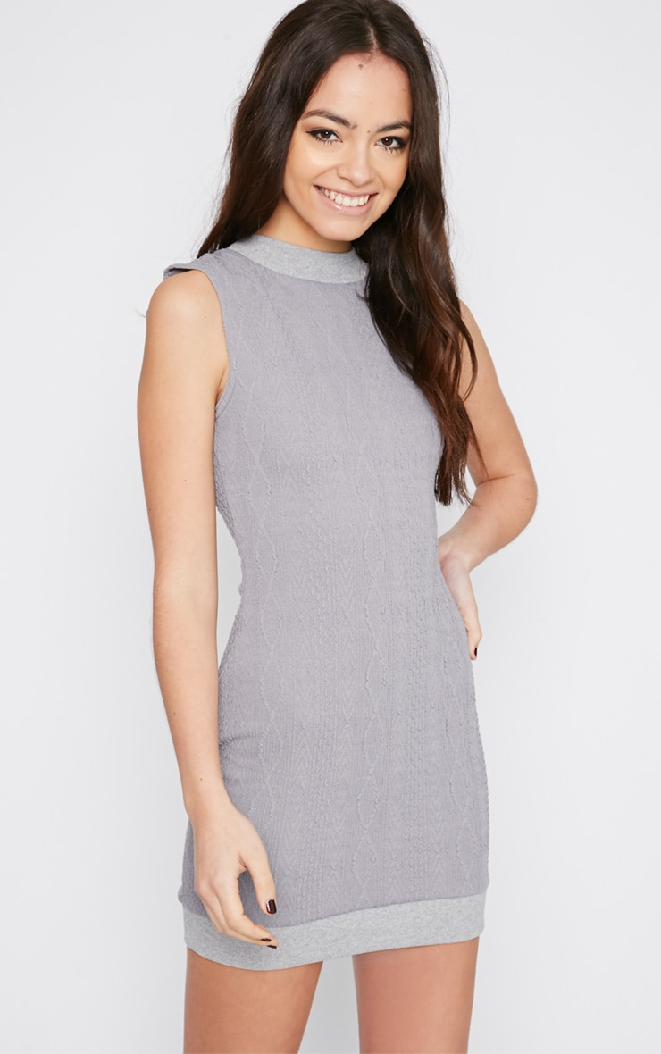 Darcie Grey Cable Knit Textured Sleeveless Dress 1
