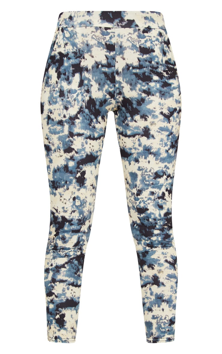 Pantalon taille haute gris imprimé tie & dye 5
