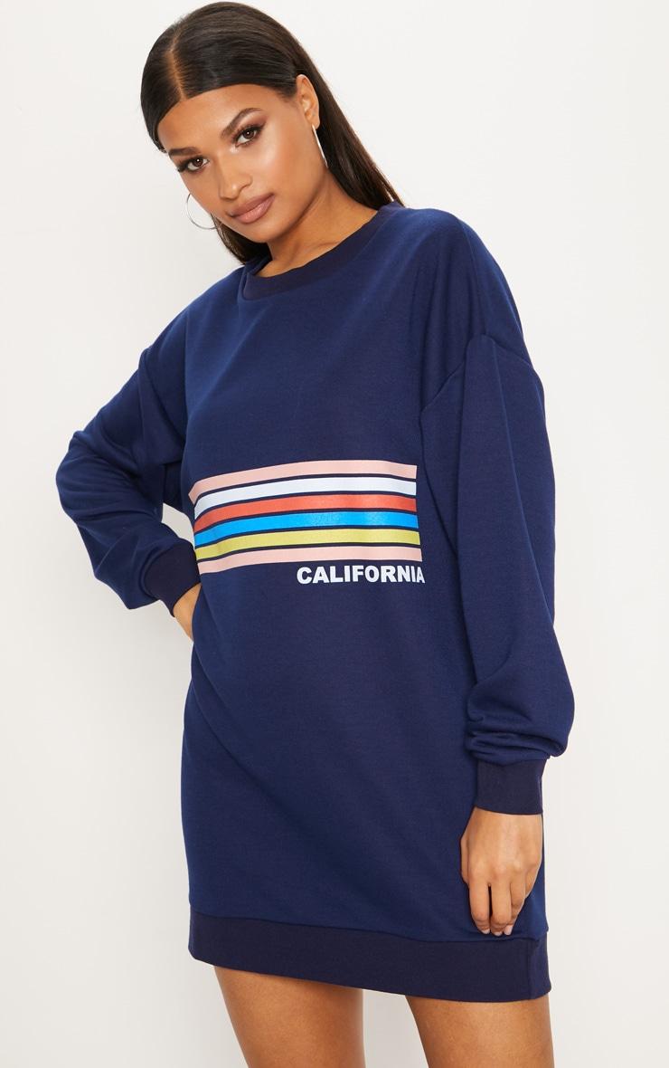 Navy California Stripe Print Jumper Dress 1