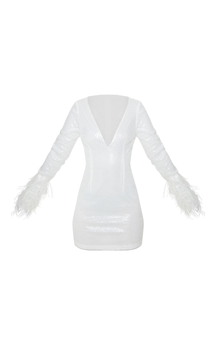 Petite White Plunge Sequin Feather Sleeve Mini Dress 3