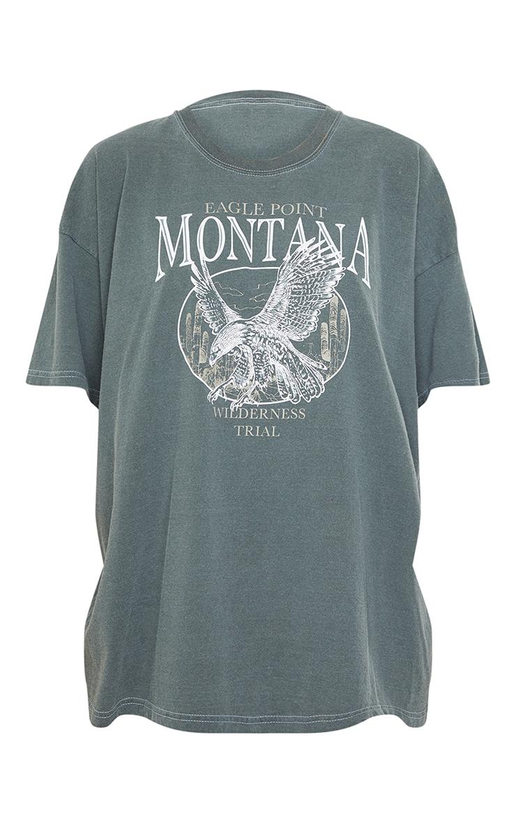 Black Montana Logo Oversized Washed T Shirt 5