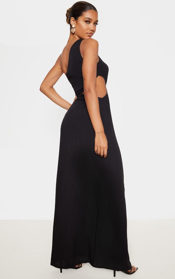 Black One Shoulder Cut Out Knot Detail Split Leg Maxi Dress 2