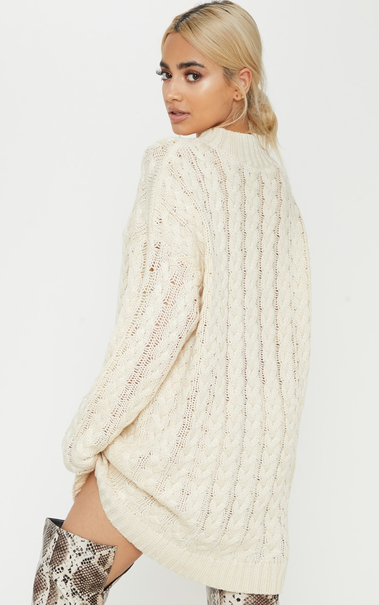 Petite Cream Oversized Cable Knit Dress 2