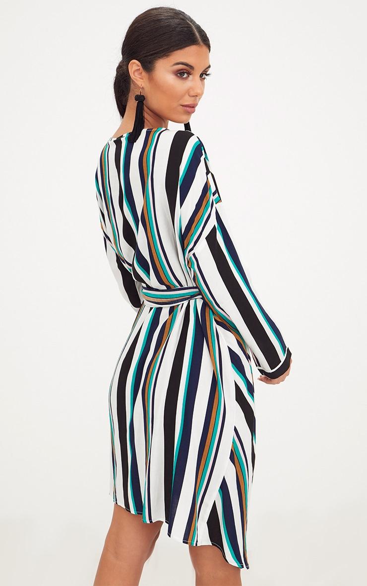 Navy Bold Stripe Tie Waist Wrap Dress 2