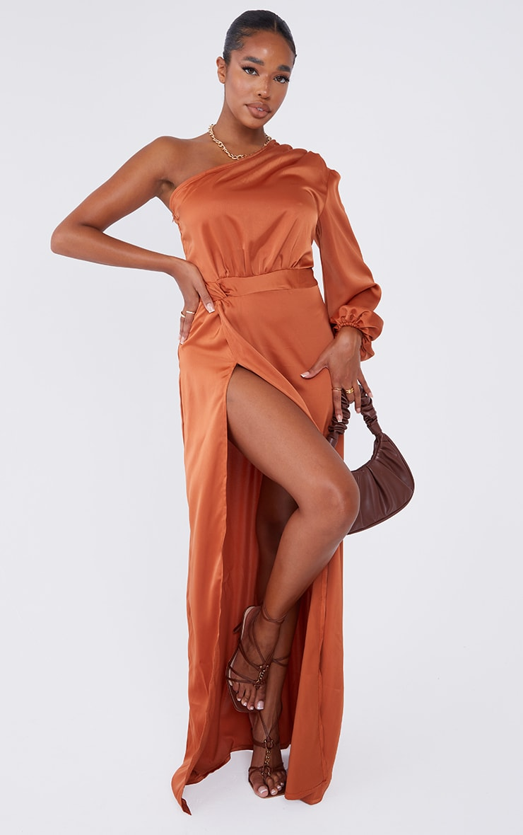 Rust One Shoulder Twist Detail Maxi Dress image 1