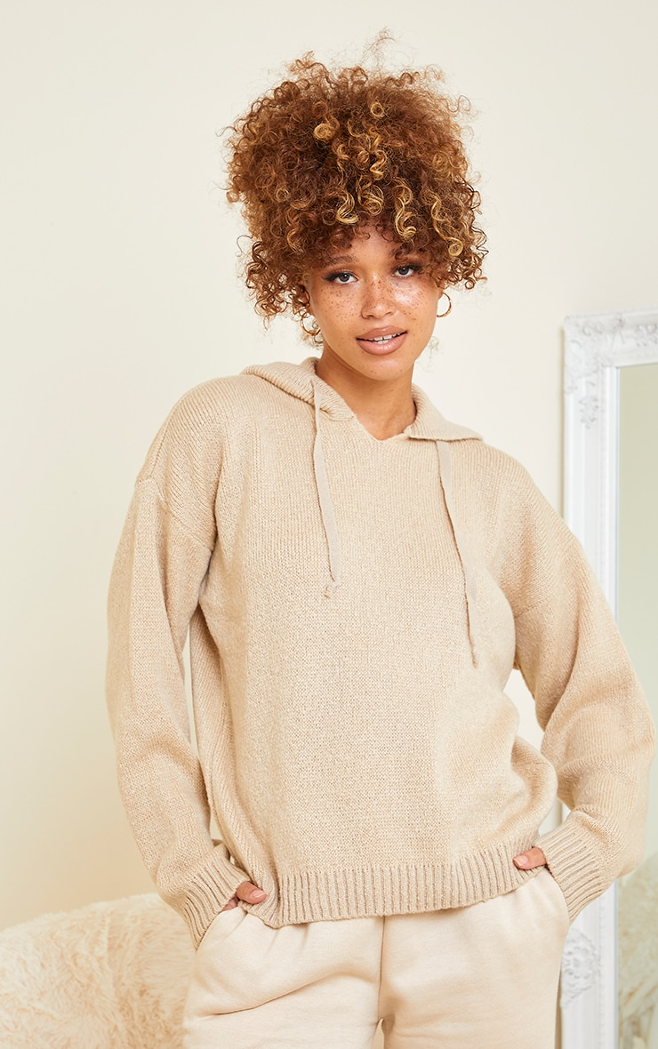 Stone Fluffy Oversized Knitted Hooded Sweater 1