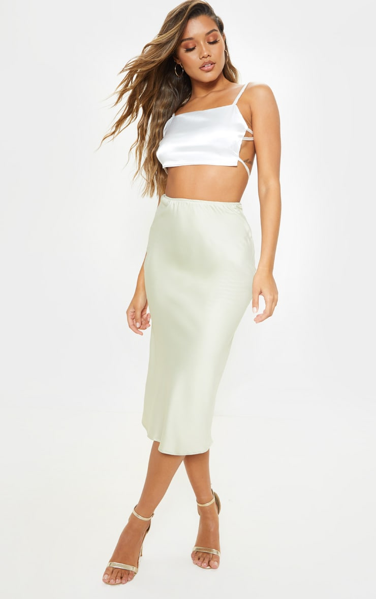 e4ffdd761a Sage Green Satin Midi Skirt