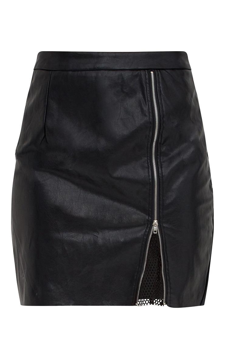 Black Fishnet Zip Split PU Mini Skirt 3