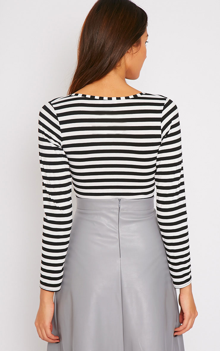 Lulu Monochrome Striped Wrap Over Plunge Bodysuit 2