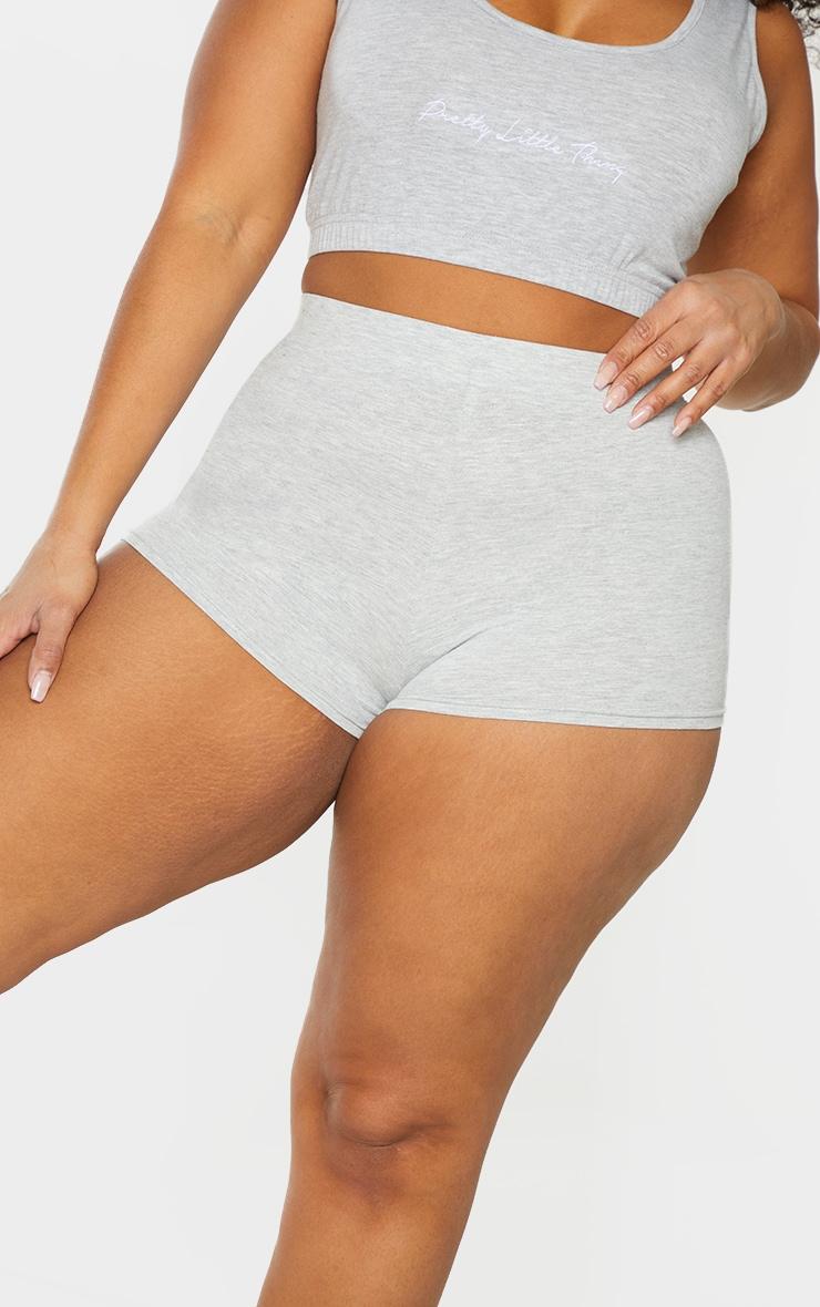 Basic Plus Grey Cotton Blend High Waisted Shorts 5