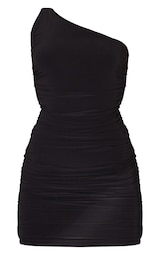Black Slinky One Shoulder Ruched Bodycon Dress 6