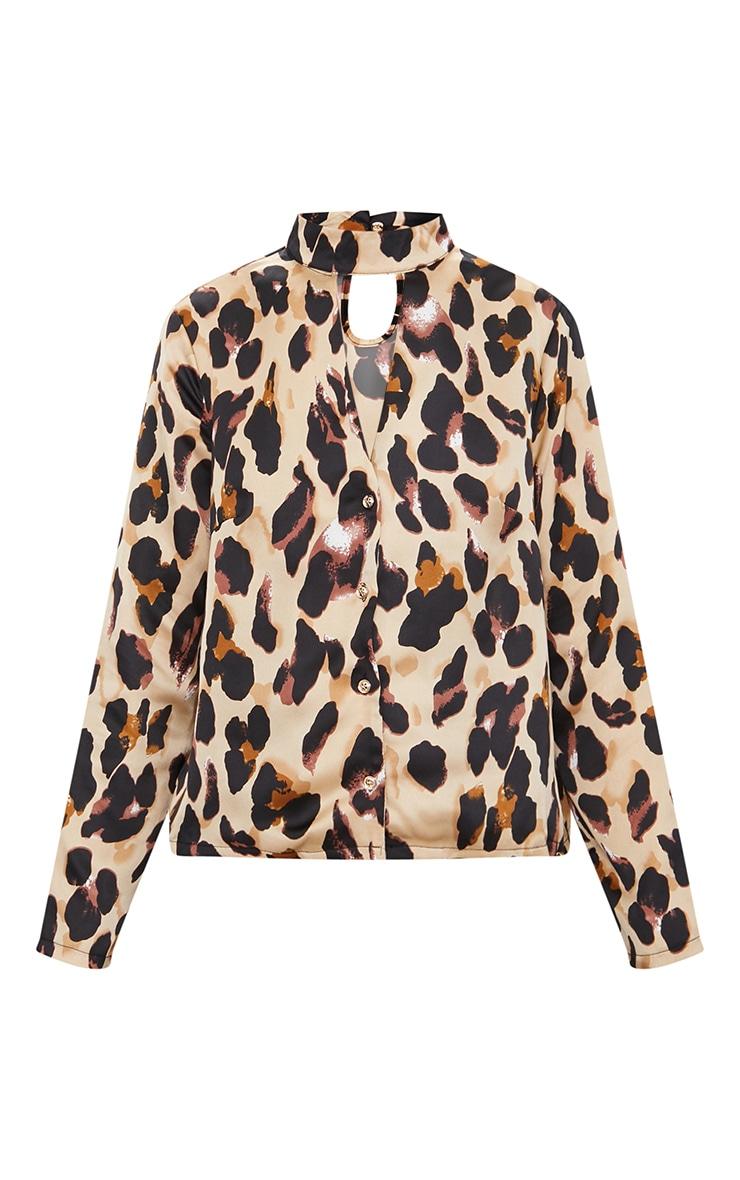 Tan Silky Leopard Print Choker Detail Blouse 3