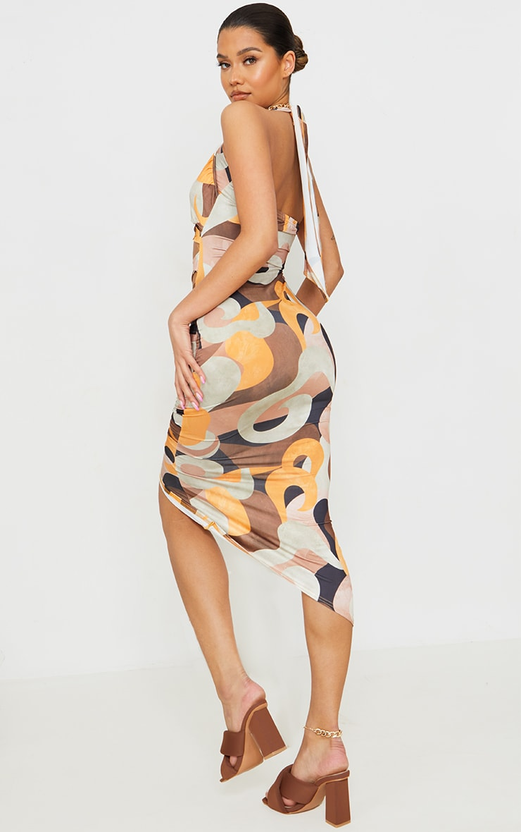 Multi Abstract Print Slinky Halterneck Cut Out Ruched Skirt Midi Dress 2