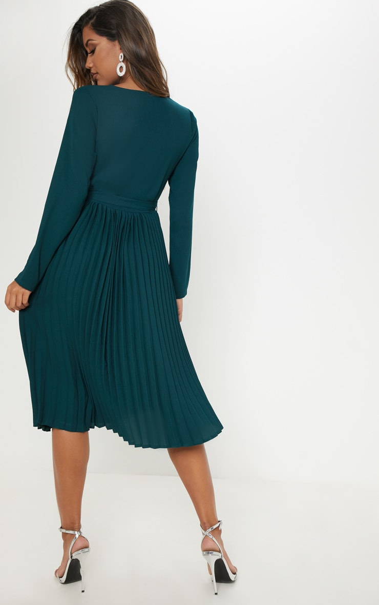 Emerald Green Long Sleeve Pleated Midi Dress 2