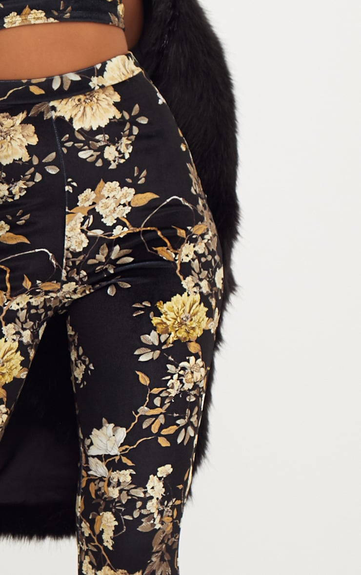 Black Floral Velvet Flared Trousers 5