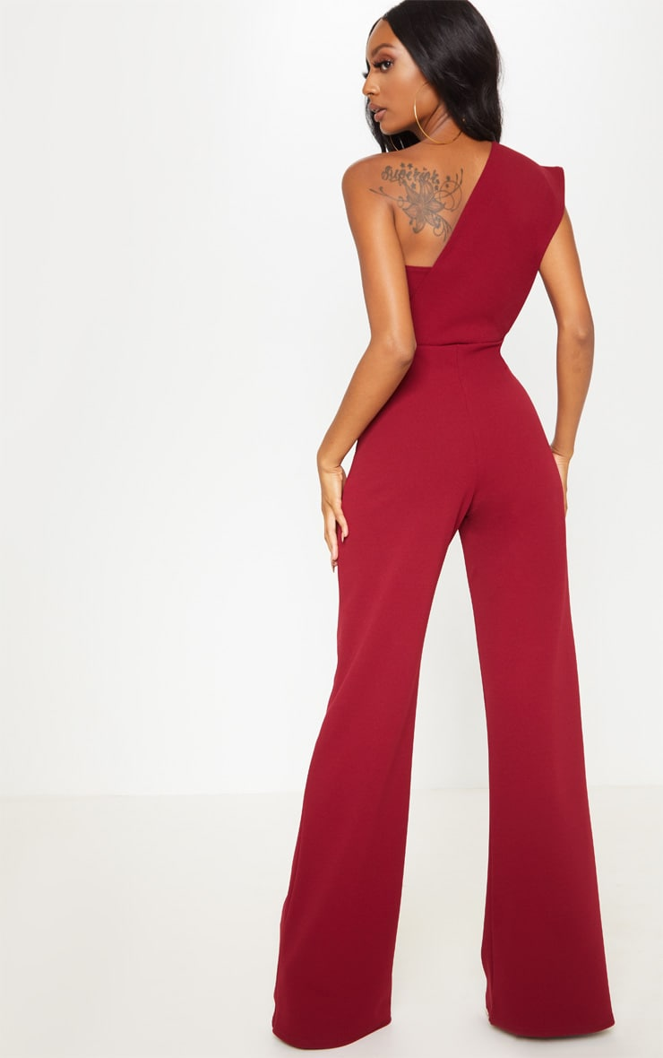 Burgundy Drape One Shoulder Jumpsuit 2